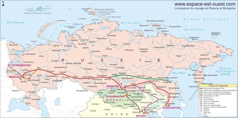 Carte des parcours transsibériens