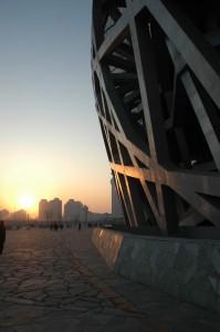 Couché de soleil sur le stade olympique