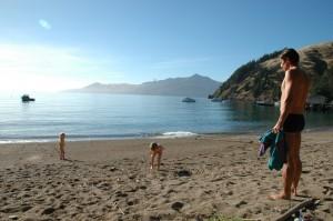 Premiere baignade dans l ocean, plutot froid a cette periode...