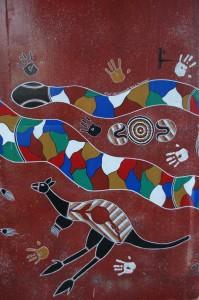 Peinture aborigène sur pilier