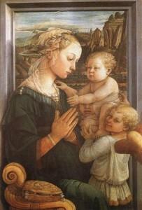 la madone et l'enfant avec deux anges de Lippi